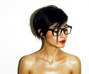 black hair, red lips, and glasses image