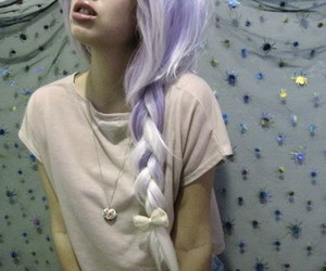 hair, girl, and purple hair image