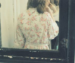 girl, mirror, and flowers image