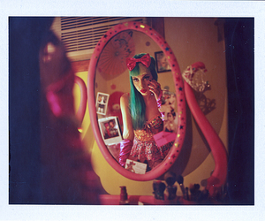blue hair, mirror, and pink image