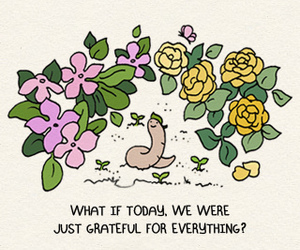 drawing, earthworm, and flowers image