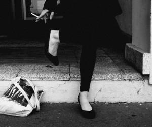 black and white, cigarette, and black image