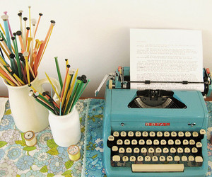 typewriter, pencil, and vintage image