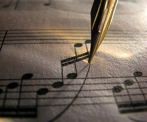 gold, music, and pen image