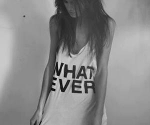 girl, whatever, and black and white image