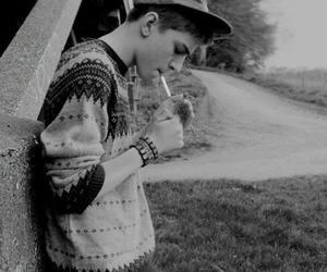 black&white, cigerette, and Hot image