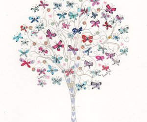 butterfly, art, and tree image