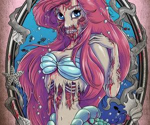 ariel, zombie, and disney image