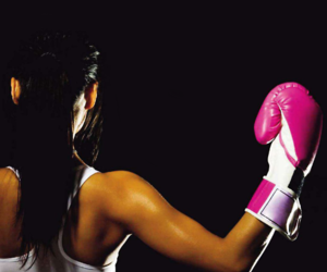 girl, pink, and boxing image