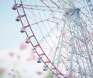 ferris wheel, pink, and blue image