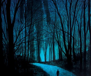 forest, art, and blue image