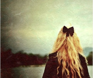 girl, bow, and blonde image