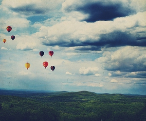 balloons, hot air balloon, and clouds image