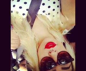blonde, blonde hair, and glasses image