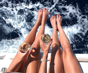 boat, girls, and luxury image