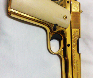 gun, gold, and swag image