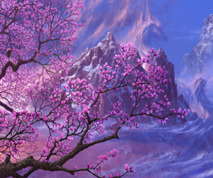 purple, mountains, and nature image