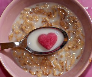 cereal, heart, and milk image
