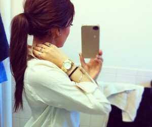 hair, brunette, and iphone image