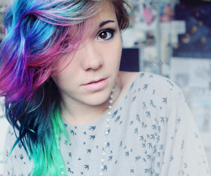girl, hair, and rainbow image