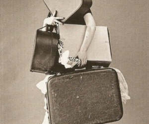 black and white, funny, and suitcase image