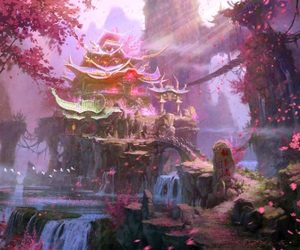 anime, asian, and blossoms image