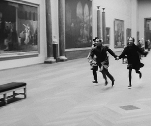 black and white, run, and museum image