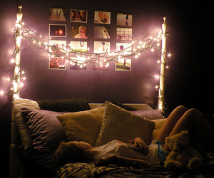 light, bed, and bedroom image