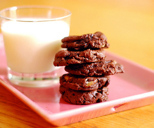 Cookies, milk, and tray image