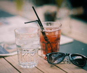 drink, vintage, and sunglasses image