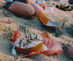 cake, friends, and beach image