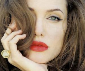 Angelina Jolie, lips, and red lips image