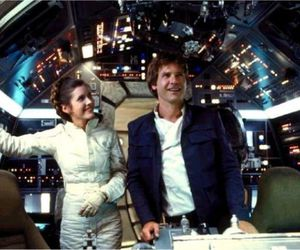 carrie fisher, han solo, and Skywalker image