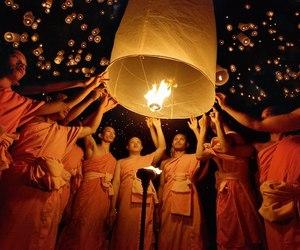 lanterns, monks, and thailand image