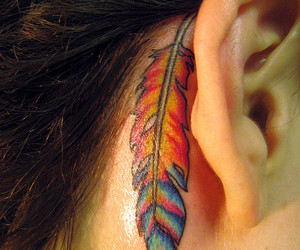 feather, rainbow, and girl image
