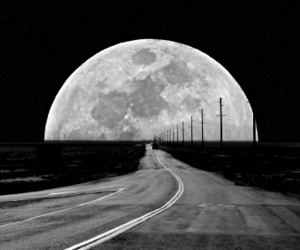 moon, road, and black and white image