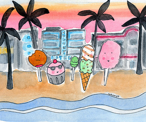 beach, cup cake, and cup cakes image