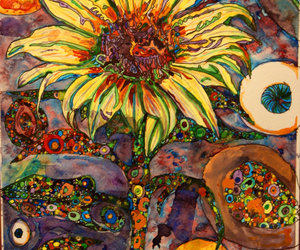 psychedelic, sunflower, and trippy image