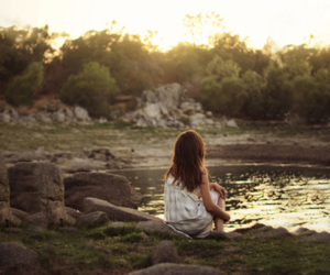 girl, nature, and white dress image