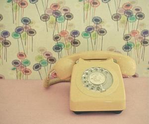vintage, telephone, and flowers image