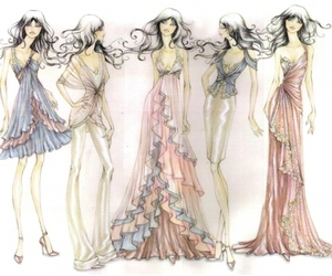 art, sketches, and dresses image