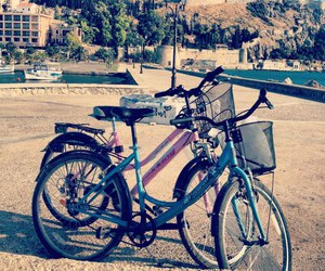 bicycles, boy, and couple image