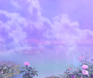 flowers, lake, and mist image
