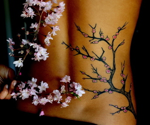 tattoo, flowers, and tree image