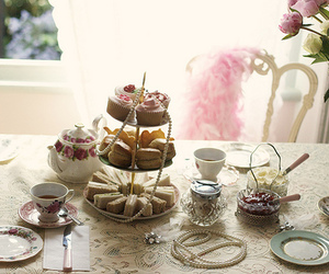 cake, delicious, and tea image