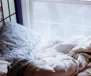 bed, photography, and window image