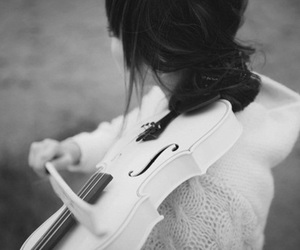 violin, black and white, and girl image