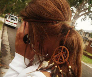 girl, hair, and dreamcatcher image