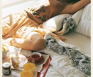breakfast, girl, and bed image