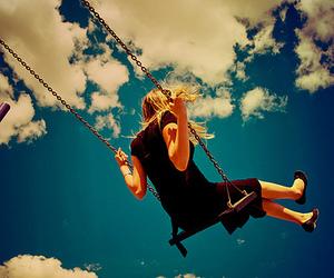 girl, sky, and swing image